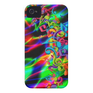colourful music notes neon bright background iPhone 4 Case-Mate case