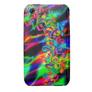 colourful music notes neon bright background color Case-Mate iPhone 3 case