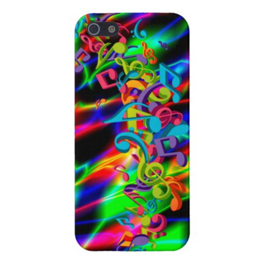 colourful music notes neon bright background color iPhone 5 case