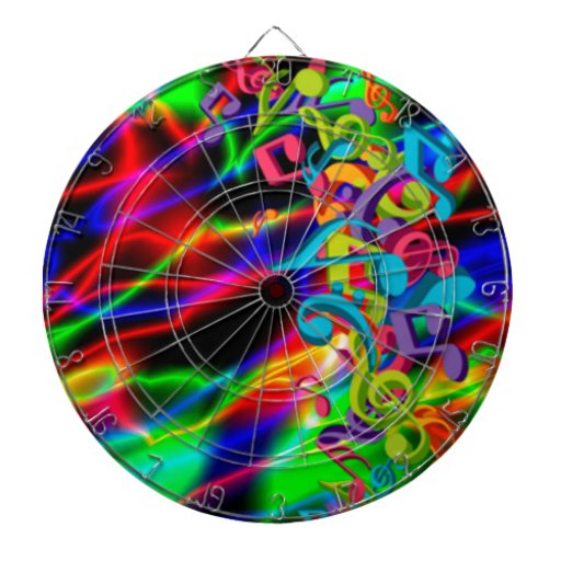 colourful music notes neon bright background dart board