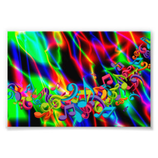 colourful music notes neon bright background photograph
