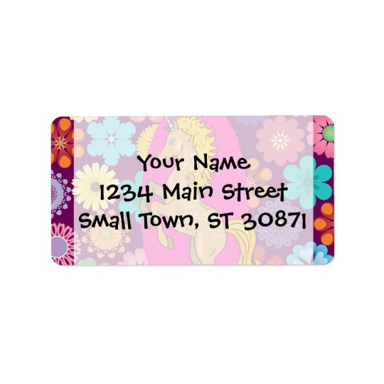 Colourful Mystical Unicorn on Pink Purple Flowers Address Label
