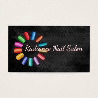 Colourful Nail Salon Rainbow and Black Rococo Business Card