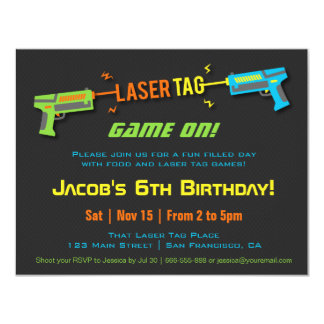 Colourful Neon Laser Tag Birthday Party Card