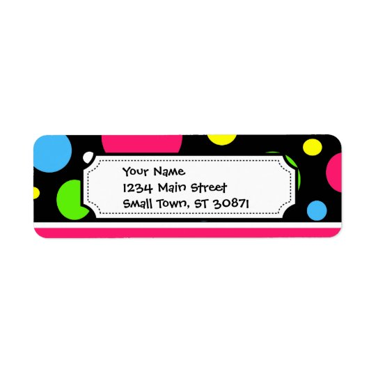Colourful Neon Stripes Polka Dots Pink Teal Lime Return Address Label