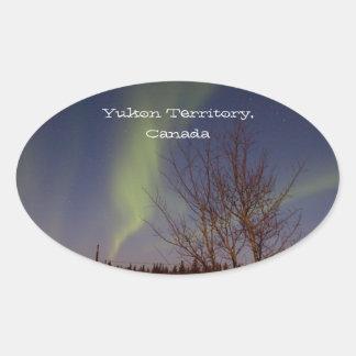 Colourful Northern Sky; Yukon Territory Souvenir Oval Sticker