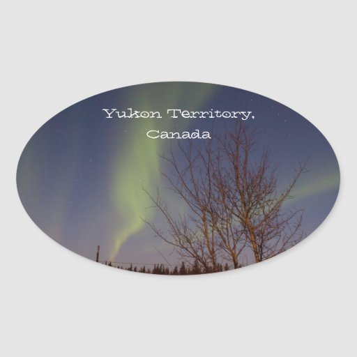 Colourful Northern Sky; Yukon Territory Souvenir Oval Stickers