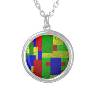 Colourful one silver plated necklace