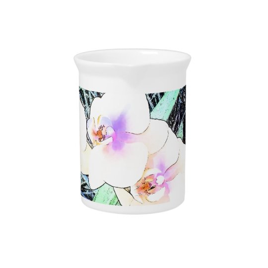Colourful Orchid Flowers Pitcher