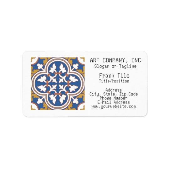 Colourful Ornamental Tile Pattern Label