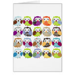 Colourful Owl Pattern Greeting Card