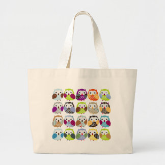 Colourful Owl Pattern Large Tote Bag