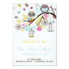 Colourful Owls and Falling Leaves Reception Card