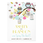 Colourful Owls & Falling Leaves Wedding Invitation