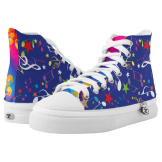 Colourful Paint Splashes Musical Notes Abstract Printed Shoes