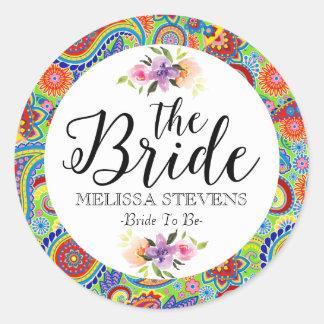 Colourful Paisley & Bride Black Typography Round Sticker