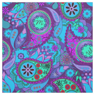 Colourful Paisley Monogram Turquoise CPM Fabric
