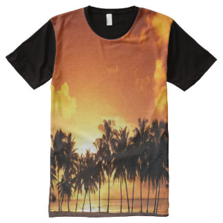 Colourful Palm Tree Sunset T-Shirt All-Over Print T-Shirt