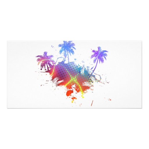 Colourful Palm Trees Illustration Personalized Photo Card