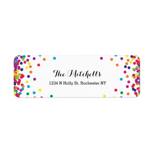 Colourful Party Confetti Return Address Labels