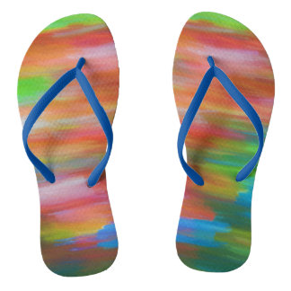 Colourful pastel chalk art in rainbow colours thongs