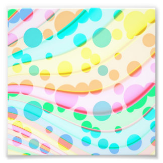 Colourful Pastel Dots And Waves Pattern Photo Print