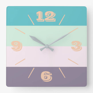 Colourful Pastel Square Wall Clock