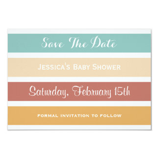 Colourful Pastel Stripes Save the Date Card