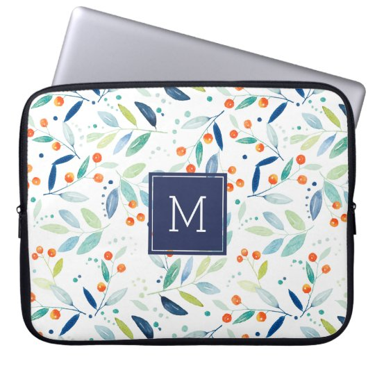 Colourful Pastel Watercolors Botanical Pattern Laptop Sleeve