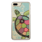 Colourful Patchwork Pattern Monogram Sea Turtle Carved iPhone 8 Plus/7 Plus Case