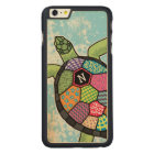 Colourful Patchwork Pattern Monogram Sea Turtle Carved Maple iPhone 6 Plus Case
