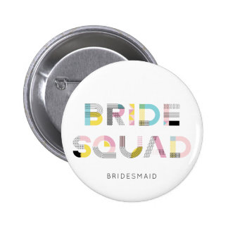 Colourful Pattern Typography Modern Bride Squad 6 Cm Round Badge