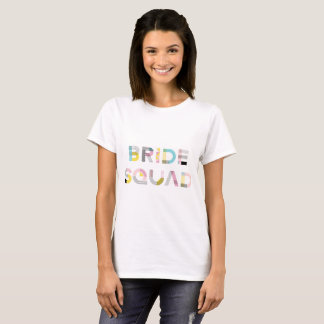 Colourful Pattern Typography Modern Bride Squad T-Shirt