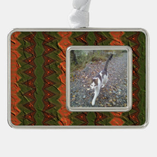 Colourful pattern with arrow shapes silver plated framed ornament