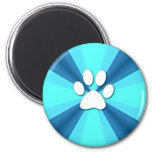 Colourful Paw Print 6 Cm Round Magnet
