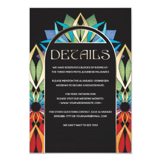 Colourful Peace Flower Wedding Details Card