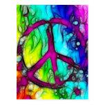 Colourful Peace Sign Postcard