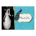Colourful Peacock Wedding Photo Thank You Card