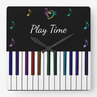 Colourful Piano Music Notes Wall Clock
