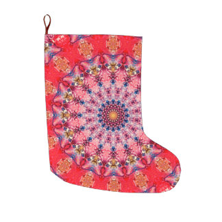 Colourful Pink and Red  Mandala Holiday Large Christmas Stocking