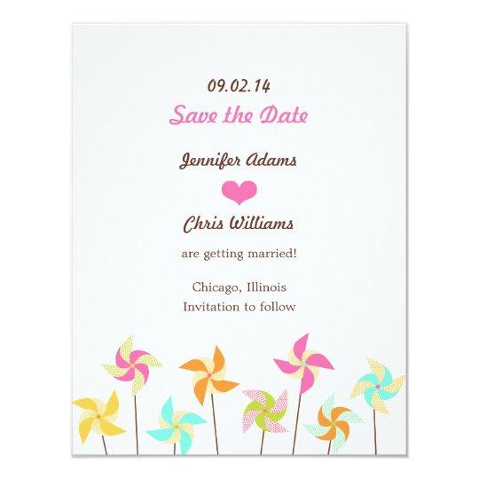Colourful Pinwheel Themed Wedding Card