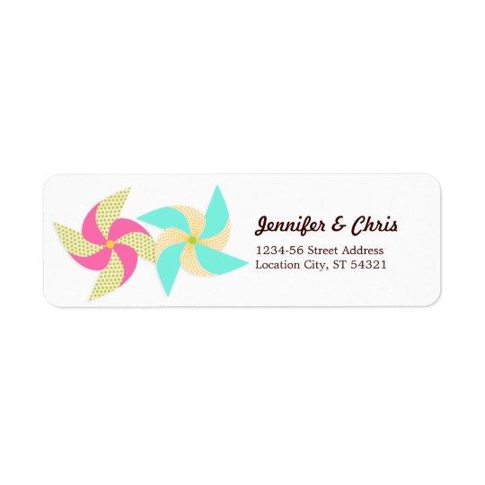 Colourful Pinwheel Themed Wedding Return Address Label