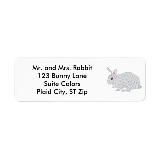Colourful Plaid Bunny Rabbit Address Labels