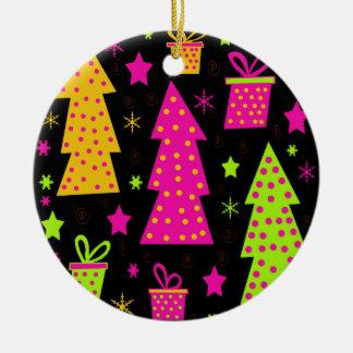 colourful, playful Xmas Round Ceramic Decoration