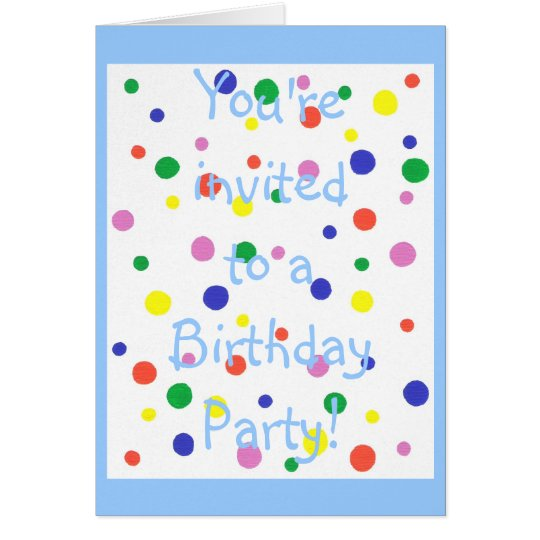 Colourful Polka Dots Birthday Party Invitation