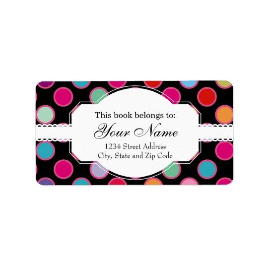 Colourful Polka Dots Pattern Address Label