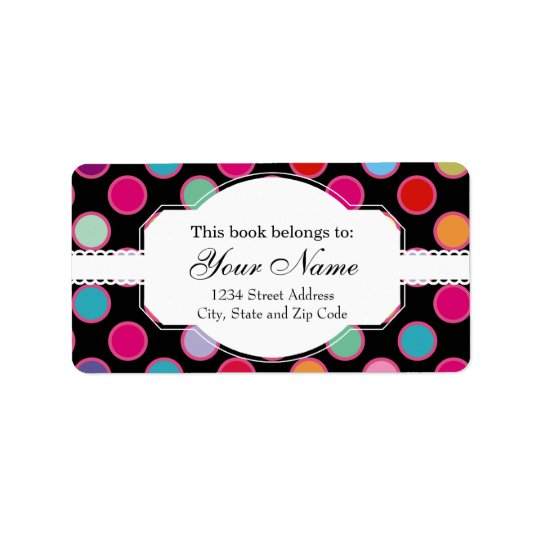 Colourful Polka Dots Pattern Label