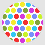 Colourful Polka Dots Round Stickers