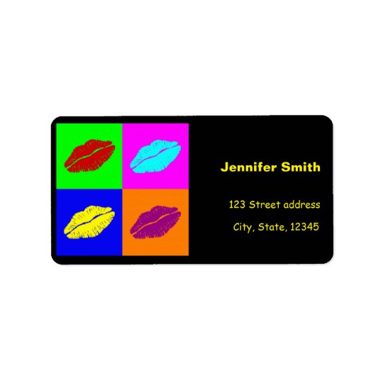 Colourful pop art lipstick kiss address label