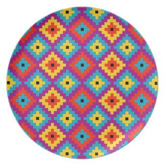Colourful Primitive Mayan Bricks Pattern Party Plate